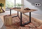 Massiv Esstisch Baumkante Baumtisch Akazie lackiert 200x100x76 natur Beine dark grey FREEFORM 3 Metall