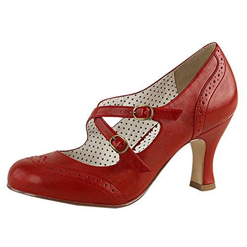 May Jane Pumps mit Spannriemen Rot Flapper-35 Rot, EU 38