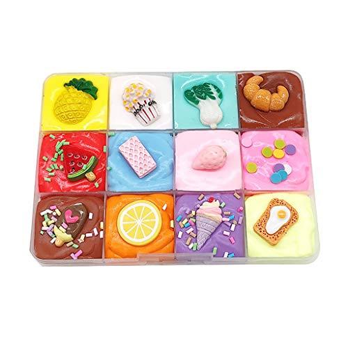 Luccase Spaß Schlamm Spielzeug Kristall Reis/Frucht Schlamm Schäumen Süßigkeiten Schleim Schlamm Spielzeug für Jungen und Mädchen, 120 ml/200 ml, 7 Farbmisch/9 Farbmischung (A) -