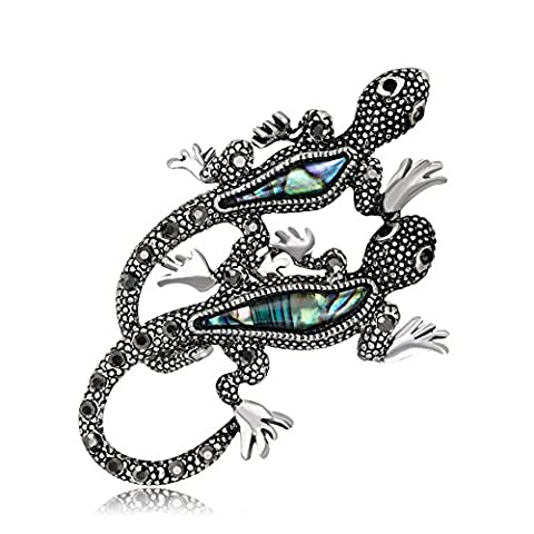 Lureme Vintage Antique Argent Abalone Shell avec strass Double Gecko Lizard Brooch Pin (br000069)