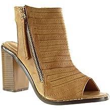 Angkorly Zapatillas Moda Sandalias Botines Peep-Toe Abierto Low Boots Mujer Multi-Correa Acabado