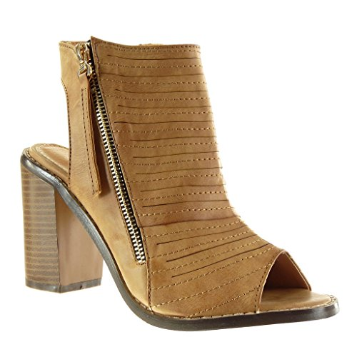 Angkorly - Damen Schuhe Sandalen Stiefeletten - Peep-Toe - Offen - Low Boots - Multi-Zaum - Fertig Steppnähte - Reißverschluss Blockabsatz high Heel 9.5 cm - Camel M107 T 36