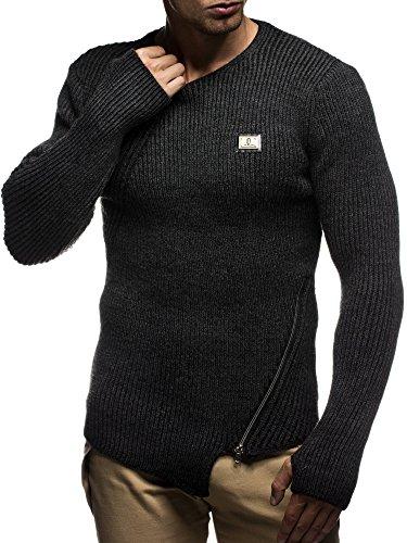 LEIF NELSON Herren Pullover Strickpullover Hoodie Sweatshirt longsleeve Sweater LN5275; Gr_¤e M, Anthrazit-Schwarz