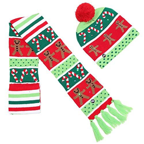 Weihnachtsmütze Kinder Beanie Mütze, Winter Strickmütze Farbe Mit Haar Ball Mütze Weihnachten Mit LED-Leuchten