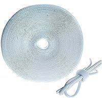 HIMRY Fascetta per cavi Velcro, 10 m x 20 mm, riutilizzabile. Velcro-Tape, Ordinato Rotolo del Velcro Strip, due lati gancio e Loop, gestione dei cavi, Bianco, KXB5012 White
