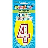 Unique Party - 37314 - Bougie à Paillettes d'Anniversaire Numéro 4 et Décoration pour Gâteau - Happy Birthday