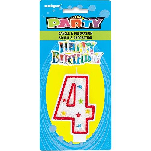 Unique Party - 37314 - Bougie à Paillettes d'Anniversaire Numéro 4 et Décoration pour Gâteau - Happy Birthday 0011179373147