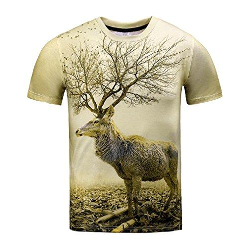 Angebote,Neue Deals,Herren T-Shirt Ronamick Hirsch Lustige Jungen Männer 3D Print Sommer Kurzarm T-Shirts Top T Bluse (Grün, XL) - Hirsch Herren T-shirt