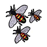 #7: MagiDeal 3 Pieces/Set Bee Insects Iron On Sew On Embroidered Applique Patches Badge for Jeans Bag Hat Dress Craft