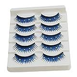 Lalang 5 Paar Blau Künstliche Wimpern dick Typ Falsche Wimpern Eyelashes für Party Wimpernverlängerung Make-up