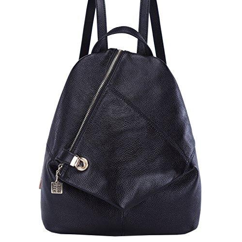 BOYATU Womens Leder Rucksäcke Damen Reisetasche Satchel Schultertasche Taschen (Schwarz) (Tasche Sattel Sling)