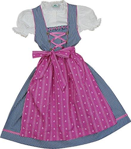 Kinderdirndl Jennifer Baumwolle marine-weiß mit pink von Isar Trachten 3-tlg.