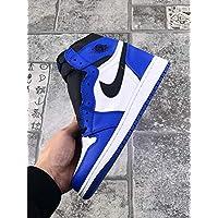 AIR JORDAN 1 Men's and woman's casual running shoes (37EU, White blue)