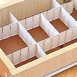 ZHOUBA 6pezzi di plastica fai da te griglia divisoria pannello divisorio per cassetti domestici organizer portaoggetti, Plastica ABS, White, taglia unica