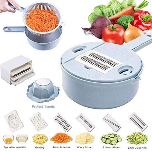 Funktion Food Slicer Verstellbar Blau Runde Reibe Weizenstroh Multi-funktion-chopper -