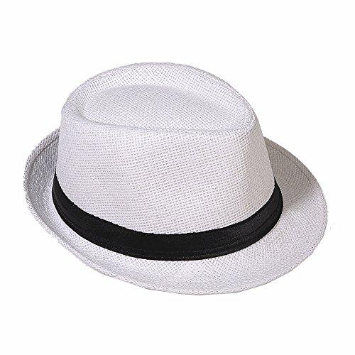 Strohhut Panama Fedora Trilby Gangster Hut Sonnenhut mit Stoffband Farbe:-Weiß (Strohhut) Gr:-54 (Damen Weißen Hut)