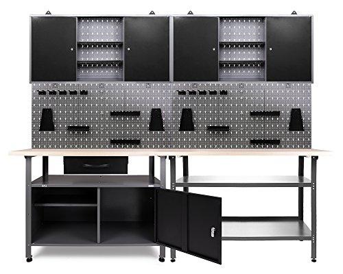 Ondis24 Werkstatt Set Erfinder 240 cm 2 Schränke (Arbeitshöhe 85 cm, Schwarz)