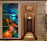 Ughjb Wand Kunst Poster Leinwand Hd Prints Blumen Bilder 3 Stück Abstrakt Blau Buddha Portrait Gemälde Home Decor Wohnzimmer No Frame