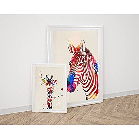 Pack of Sheet for framing Giraffe and Zebra. Posters Style Watercolor Painting with Images of the Animals. Decoration of Home. Sheets for framing Paper 250Grams High