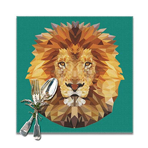 Dimension Art Edgy Lion Placemats Set of 6/4 for Dining Table Washable Polyester Placemat Non-Slip Wear and Heat Resistant Kitchen Table Mats Easy to Clean, 12x12 In