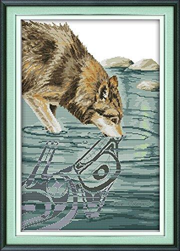 CaptainCrafts Heiß Neue Veröffentlichungen Kreuzstich Kits Muster Stickerei Kit - Tier Kunst Natürliche Farbe Wolf (Weiss) (Gezählt Kreuzstich-muster Halloween)