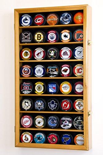 sfdisplay. COM, Factory Direct Display Fällen 40Hockey Puck Display Fall Kabinett Inhaber Rack 98% UV -, Oak Finish (Hockey-puck Fällen)