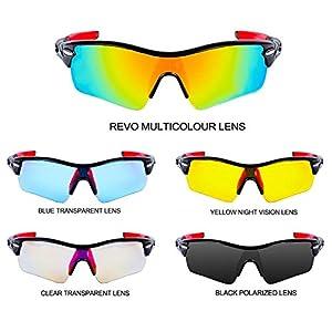 Gafas de Sol Deportivas Polarizadas,CrazyFire UV 400 Protección Gafas Deportivas con 5 Set De Lentes Intercambiables,Gafas Deportivas de Protección para Los Hombres Mujer de Esquí de Pesca Ciclismo