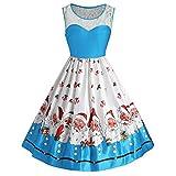 MRULIC Damen Vintage Santa Christmas Printing Kleider Damen ärmelloses Kleider Jumper (Blau,EU-40/CN-XL)