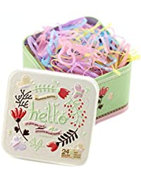 1 Box (700PCS) Disposable Hair Ponytail Holders Elastic Hair Bands Hair Tie Rubber Bands With Cute Tin Box For...