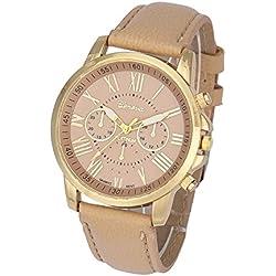 coromose Luxus Style Damen Geneva römischen Ziffern Kunstleder Analog Quarz Armbanduhr