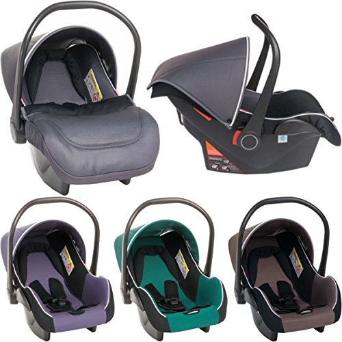 Babyschale / Babytrage für Autositz (Mit Fußsack & Sonnendach) Gruppe 0+ (DUNKELGRAU)