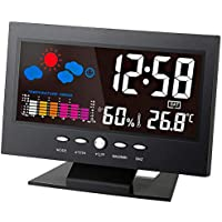 Digital Temperature Humidity Meter Thermometer Hygrometer Clock with Calendar Weather Forecast
