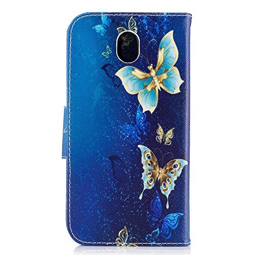 Linvei Samsung Galaxy J7(2017)(Version européenne)Coque,[Conception de Motif Coloré][PU Cuir Housse][Portefeuille Flip][Stand Soutien/Card Slot /Fermeture Magnétique] - Plante tropicale verte Beaux papillons