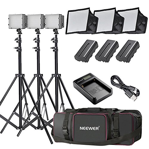 Galleria fotografica Neewer 3pz. 160 LED Kit di Illuminazione Pannello Luce Regolabile per Fotocamera Digitale/Videocamera
