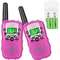 Sigdio Walkie Talkie für Kinder PMR446 Funkgeräte mit Akkus und Ladegerät Handfunkgeräte Walki Talki Taschenlampe VOX 8 Kanäle 0,5W (Pink)