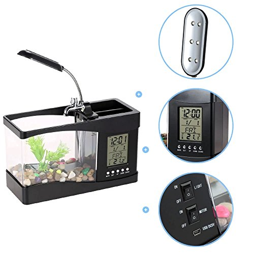 Tank Fish Uhr (USB Aquarium, TechCode USB Mini Aquarium Aquarium mit LED Lampe Licht LCD Display und Kalender Uhr Aquarium (Schwarz))