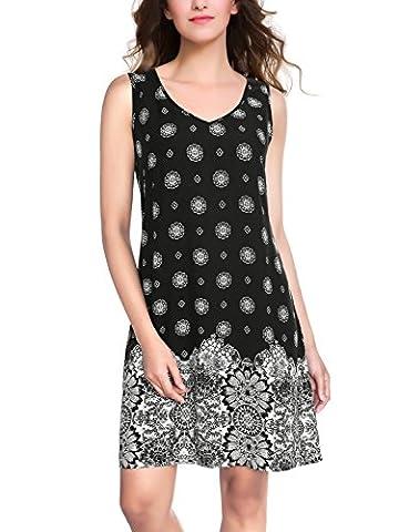 BAISHENGGT Women's Sleeveless Floral Print V Neck Casual Loose Mini Dress Black Medium