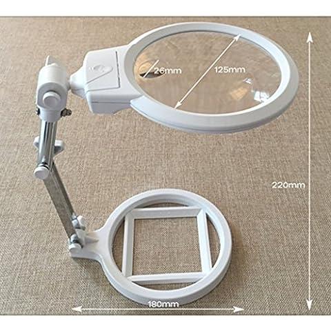 2 luci LED Lente d'ingrandimento Desktop Lettura Magnifier 2X 6X Lente di Fresnel