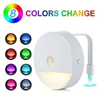 Automatic Sensor Night Light - Adoric LED Toilet Night Light Battery Operated  Fun Presents Light Up Toilet Bowl/Seat for Bathroom Washroom [8 Colors]