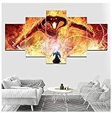 JRDWLH ImpressionssurToile Seigneur des Anneaux 5 Pièces Affiche De Film Mur Art HD Peinture Image Home Background Decor Toile Peinture (B) No Frame