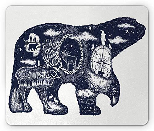 Tappetino per mouse orso polare, boho tattoo art style silhouette animale con elementi di fauna selvatica e bussola, tappetino per mouse in gomma antiscivolo rettangolo di dimensioni standard, bianco