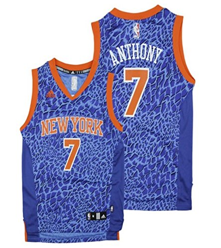 Adidas New York Knicks NBA Big Jungen Youth Carmelo Anthony # 7 Crazy Licht Swingman Jersey, Blau, Herren Kinder Mädchen Jungen, blau (Jersey Anthony Carmelo)