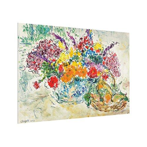 Bilderwelten Spritzschutz Glas - Marc Chagall - Obst und Blumen - Quer 3:4, HxB: 59cm x 80cm -