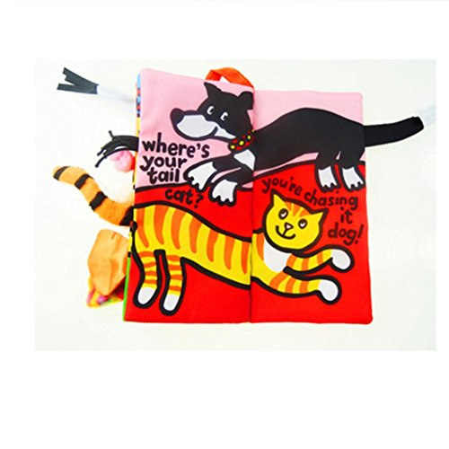 Image of Kolylong® Infant Kid Baby Zoo Animal Tails Cloth book Baby Toy Cloth Development Books Learning Education Books