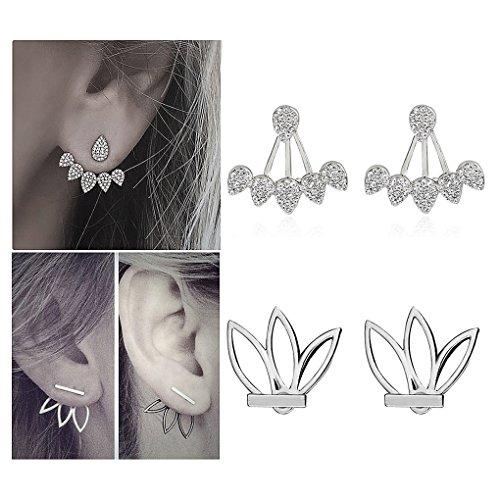 Suyi Mode Hohl Lotus Blume Ohrringe Kristall Einfach Schick Ohrringe Set BS