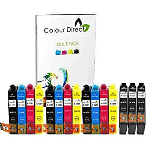Colour Direct Lot de 15 cartouches d'encre pour imprimantes Epson Stylus S22 SX125 SX130 SX230 SX235W SX420W SX425W SX430W SX435W SX438W SX440W SX445W BX305F BX305FW 6 x noir/3 x cyan/3 x magenta/3 x jaune XL