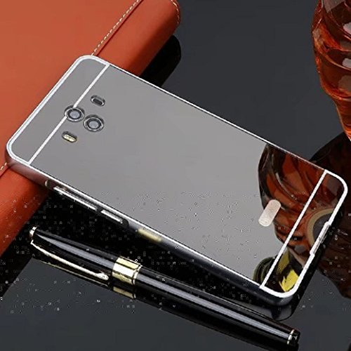 Huawei GX8 Mirror Case, Shiny Awesome Make-up Mirror Plated Aluminum Metal Frame Bumper Slim Cover, TAITOU Cool 2 in 1 Ultralight Thin Phone Case For Huawei GX8/MaiMang4 Black
