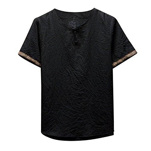 Gusspower Camisas De Lino Tradicionales para Hombres Manga Corta con Cuello En V Casual Blusa Suelta Camisetas Sueltas Top Adolescent Deportivas Sudadera del Collar Blusas,M-5XL 4 Colores