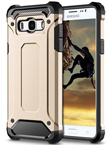 Samsung Galaxy J7 2016 Hülle, Coolden® Outdoor Stossfest Amor Case Robust Display & Kamera Schutz Handyhülle Anti Dust Design Militärischer SchutzHandytasche für Samsung Galaxy J7 (2016) J710 Smartphone Gold
