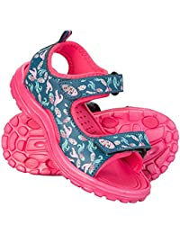 Mountain Warehouse Sand Girls Sandals - Neoprene Kids Flip Flops, Durable Outsole Summer Shoes, Velcro, Removable Heel Strap Childrens Shoes -For Travelling, Beach, Pool